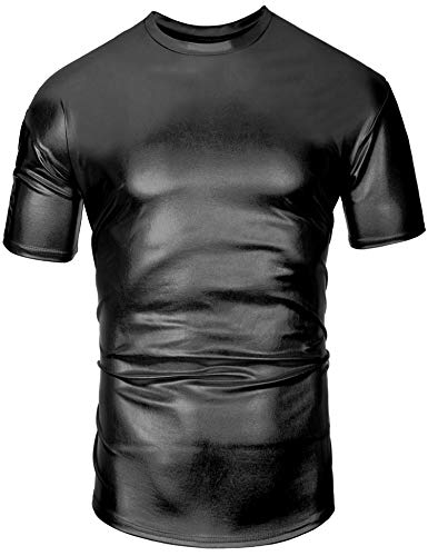 (Daupanzees Mens Faux Leather PU T Shirt Short Sleeve Casual Streetwear Holographic Wet Look Sparkle Sequins T Shirt Black)