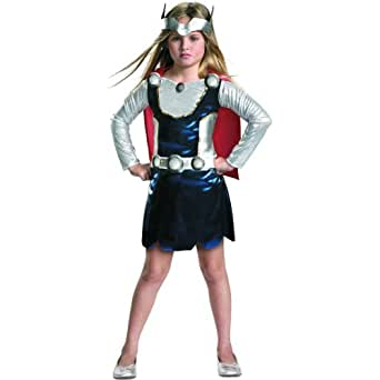 Marvel Universe Thor Girl Costume, Red/White/Blue, X-Small