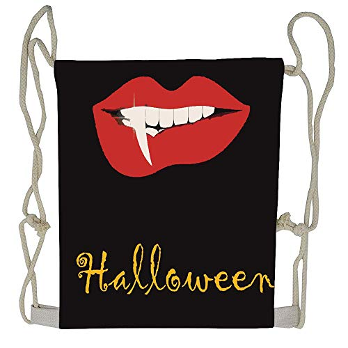 WATINCFlagHomegg Halloween Theme Vampire Lip Horror Painting Drawstring Backpack Bag Beam Mouth Gym Sack Shoulder Bags for Men & Women