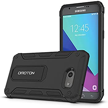 Galaxy J3 Emerge Case, Galaxy J3 Prime Case, Galaxy J3 2017 Case, OMOTON Dual Layer Shookproof Protection Slim Fit Case with [Versatile Kickstand] [Non-Slip Design]