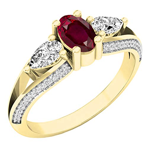 Dazzlingrock Collection 18K 6X4 MM Oval Ruby, Pear White Sapphire & Round Diamond 3 Stone Ring, Yellow Gold, Size 6 ()