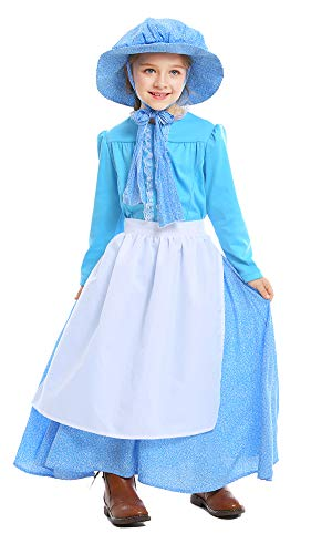 yolsun Girls' Colonial Costume, Pioneer Dress,Pilgrim for Girls with Bonnet (XL(Suggested Height:57