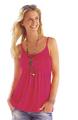 Maks Women Viscose Spandex Spaghetti Strap Cami Tunic Knit Top (Small, Pink)