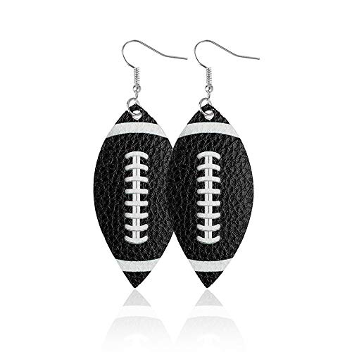 JOYID Rugby Football Leather Dangle Earrings Water Drop Shap Earrings Trendy Jewelry for Women Sport Lovers Ball Fans-Black