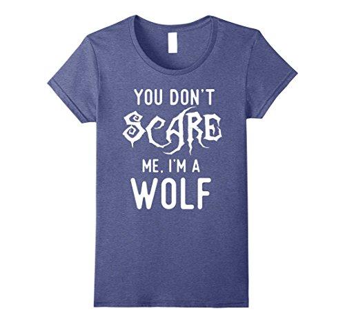Womens Funny Wolf Shirts Halloween Costume Joke Gag Wolfpack Gifts. Medium Heather Blue
