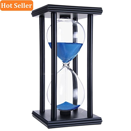 Hourglass timer 60 minutes Sand Timer Clock hourglass timer Blue Sand Wooden Black Stand Hourglass for kids Office kitchen Decor Home Study Bedroom Living Room Christmas Gift Wedding (Hourglass Stand)