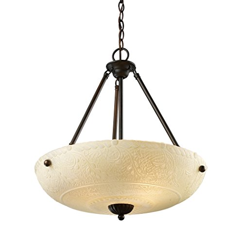 Elk 66322-4 Restoration 4-Light Pendant, 24-Inch, Aged Bronze With Scavo White Glass