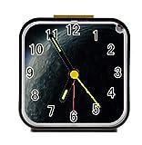 Dong Cun Bai Universe Solar System Planets Earth Galaxy Nebula Alarm Clock for Children Custom Square Black Alarm Clock 3.27''(H) x 3.07''(W) x 1.65''(D)