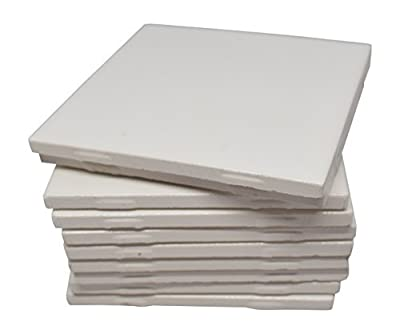 Outdoor Glossy White Ceramic Tiles 4 1/4 By 4 1/4 Each Plus Guide for Tile Crafts (Set of 10), Model: 4-1/4x4-1/4, Garden Store, Repair & Hardware
