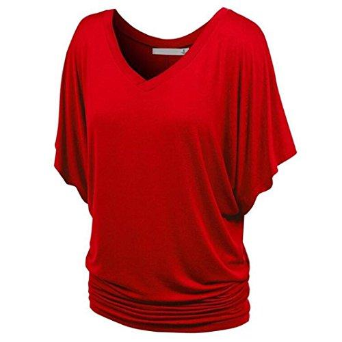 Couleur Chic Femme Taille Noir Casual La Soiree Neck Rouge Blouse Pure Challeng Chemise Shirt Top Hawaienne Plus T V Femmes Casual Deep F8wq5qER