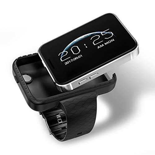 e Watch MP4 Player Sleep Monitor Pedometer Camera GSM SIM Mini Phone Smart Watch Men for iOS Android (BLACK) ()