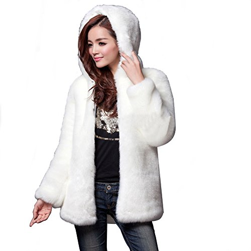 Fhillinuo Faux Fur Solid Color With Hood For Women (White (White Rabbit Hood)
