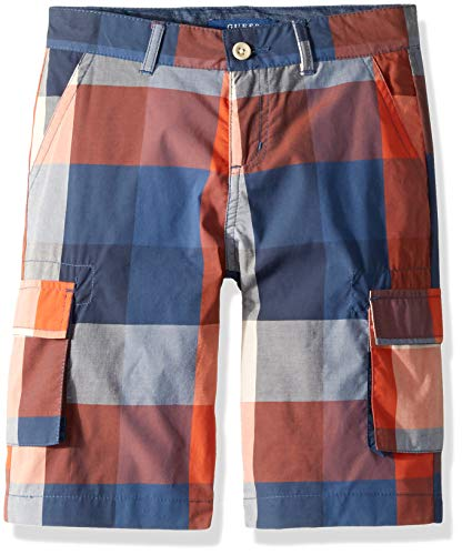 GUESS Boys' Big Checkered Plaid Cargo Short, Check red/Blue 12