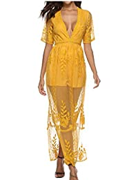 f30b9af0a1ce Yayu Women s See Through Lace Long Dress Short Sleeve V-Neck Maxi Dress