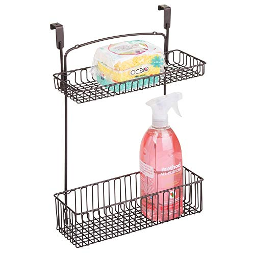 mDesign Metal Farmhouse Over Cabinet Kitchen Storage Organizer Holder or Basket - Hang Over Cabinet Doors in Kitchen/Pantry - Holds Dish Soap, Window Cleaner, Sponges - Bronze