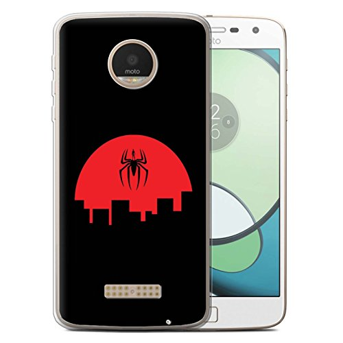 STUFF4 Gel TPU Phone Case/Cover for Motorola Moto Z Play/Droid / Spider Inspired Design/Minimalist Movie Art Collection