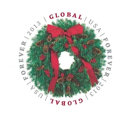 Global Holiday Evergreen Wreath Sheet Of 10 X International Forever Us Stamps