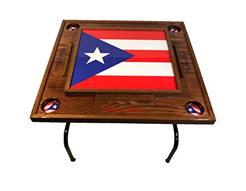 Puerto Rico Domino Table with the Full Flag (Red Mahogany ) by latinos r us