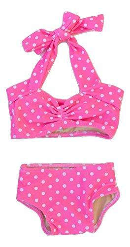 [Red Dolly Swimwear Pink & White Polka Dot Retro Baby Bikini Swimsuit (0-3 mos.)] (0-3 Month Swimming Costumes)