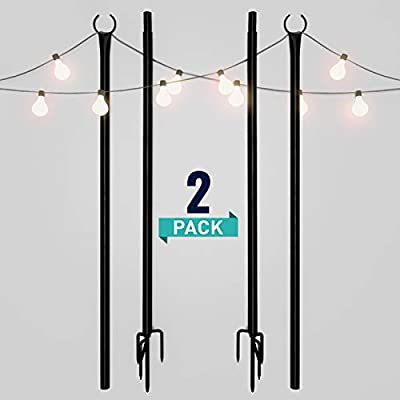 Holiday Styling String Light Poles for Outdoors (2 x 9ft) Push Down Middle to Stay Strong Straight and Sturdy with LED Hanging Solar Bulbs for House Garden Cafe Wedding Party