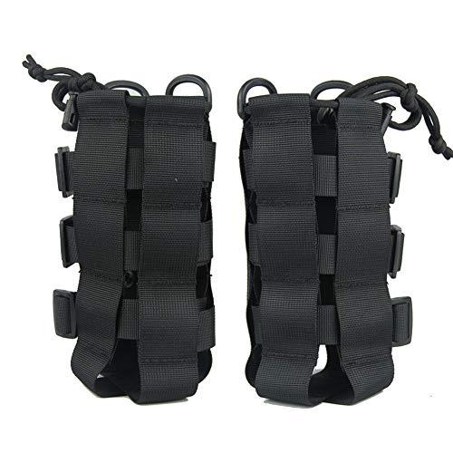 Kasla Tactical Military MOLLE Water Bottle Pouch, Adjustable Outdoor Sport Kettle Carrier Bag - Multi Colors (Black)
