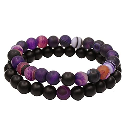 Couples His and Hers Bracelet Black Matte Agate & Purple Matte Agate 8mm Beads By UEUC (Her Healing Co)