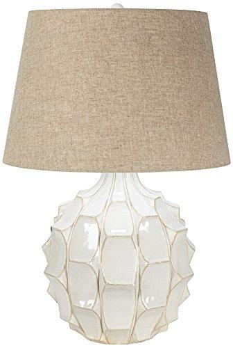 Cosgrove Round Mid-Century White Ceramic Table Lamp White Ceramic Lamps