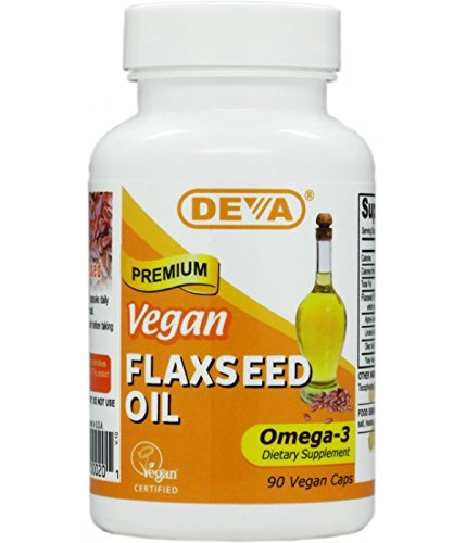 Deva Organic Vegan Vitamins Flax Seed Oil, Omega-3, 90 Vcaps (Pack of 2)