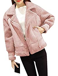 cb0d9082a8490 Winter Biker Jacket Zipper Up Faux Suede Fur Liner Warm Coat Jacket