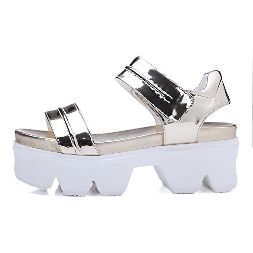AgooLar Women's Patent Leather Open Toe High Heels Hook And Loop Solid Sandals Gold whUWUM1