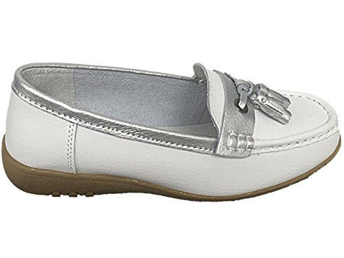 Ladies Cassie Cushion Walk Real Leather Tassel Slip On Wider fitting Loafer Moccasin Shoes Size 3-8 White/Blue TKnbso