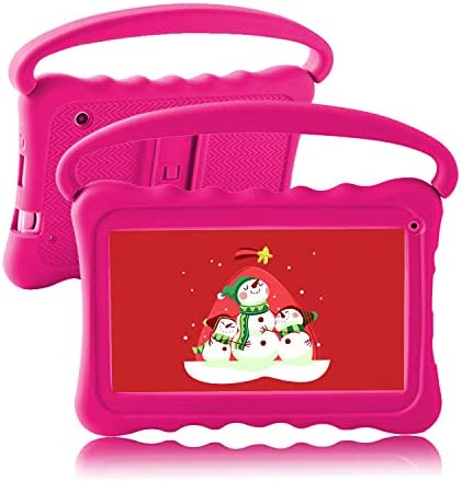 Kids Tablet 7 Toddler Tablet for Kids Edition Tablet with WiFi Camera googple Plays Netflix YouTube Children's Tablets Android 8.1 Parental Control with Shockproof Case 1GB + 16GB (Rose Red)