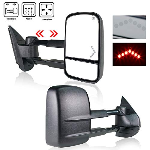 Spead-Vmall DOT Approved Towing Mirrors Side View Tow Mirrors Fit For 2007-2013 Chevy Silverado/GMC Sierra With Power Heated And Arrow Turn Signal Light