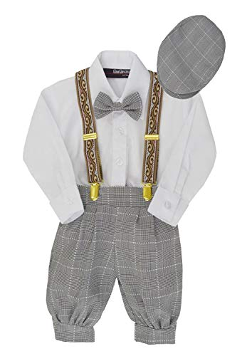 G284 Boys Vintage Knickers Outfit Suspenders (2T/2, Black/White)
