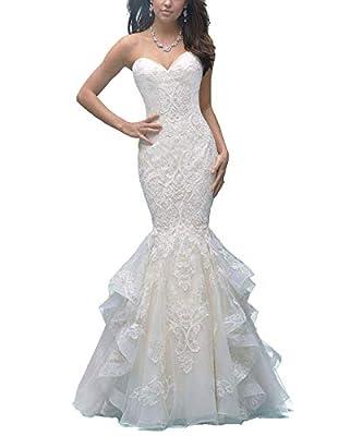 Women's Sweetheart Lace Applique Wedding Dress Mermaid Ruffles Train Bride Dress