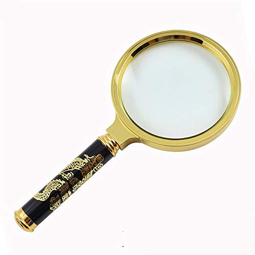 - LAAN 90mm Large Detachable Yellow High-end Carved Dragon Magnifying Mirror Hand-held Magnifying Glass (Size : Handle Length 90mm)