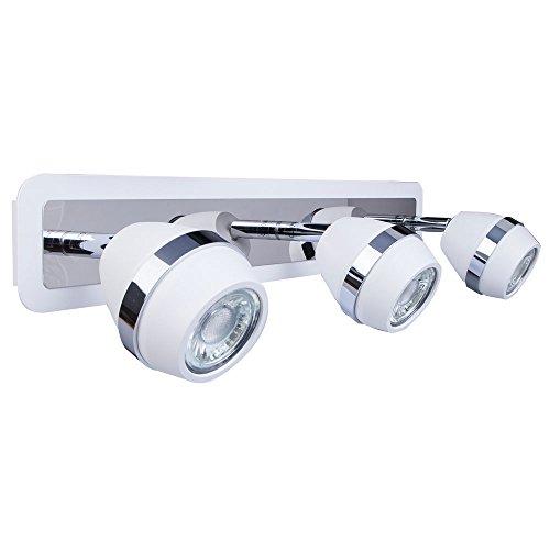 Indoor wall Spot Light, ALghtUp GU10 3W Modern Chrome Night Light, 360° Multi-Directional Ball-shaped Stainless Steel Bedroom Wall Lamp (3 BLUB(white))