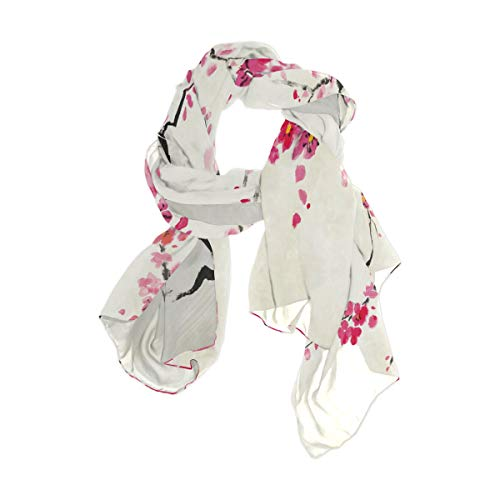 Use4 Watercolor Cherry Blossom Sakura Chiffon Silk Long Scarf Shawl Wrap