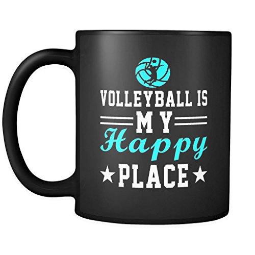 Volleyball Cup Mug - Volleyball Is My Happy Place - Funny Coffee Ceramic Mug 11 oz, Team Gift for Players, Coach or Even Team Mom - N5 -