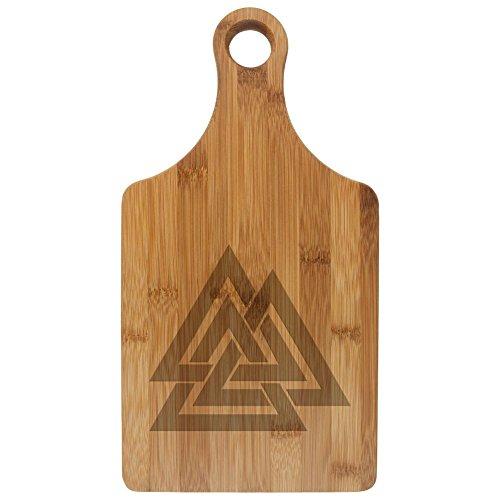 Viking Valknut Odin Symbol Etched Bamboo Cutting Board Rawhide Standard One Size