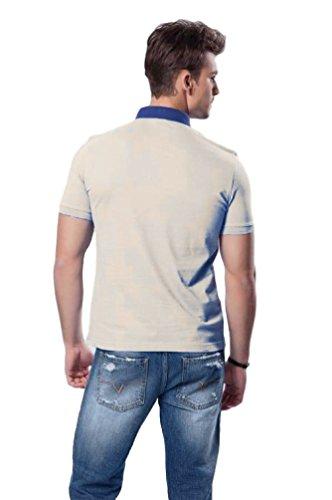 Versace V1969 - Herren Poloshirt, Blau Kragen, 100% Baumwolle, Custom Fit, Grau, XX-Large