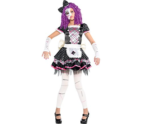 (AMSCAN Damaged Doll Halloween Costume for Girls, Large, with Included)
