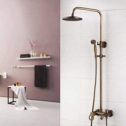 シャワーヘッド 取り付け簡単 ソリッドブラスシャワーアンティーク真鍮8インチのシャワー蛇口セットシャワーヘッドハンドシャワースプレーウォールは、ミキサーのタップをマウント