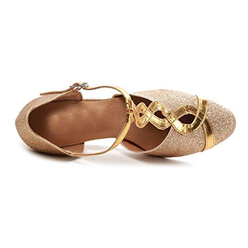 GL262 Strap Pumps Gold Evening Practice 6 5 Glitter T Women's UK Shoes MINITOO Dance Bwtq6dd