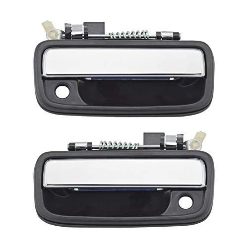 Door Handle Chrome Set - Chrome & Black Outside Exterior Door Handle Left/Right Pair Set for Tacoma Truck