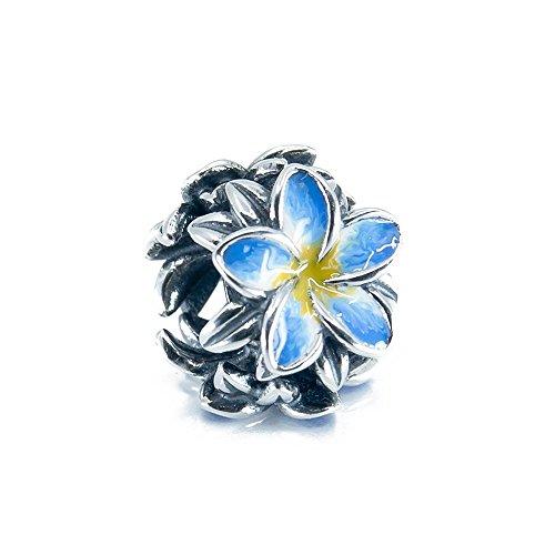 Tropical Flower Plumeria Frangipani Flower Sterling Silver Charm Bead S925, Hawaiian tropical Flower Bead, Blooming Tropical flower, Enamel Flower Yellow Blue Jewellery, Pandora bracelet compatible