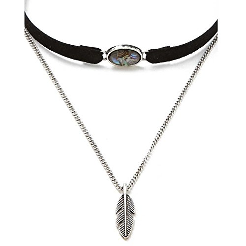 Loweryeah Womens Girls Seude Double Layers Feather Retro Choker Black Necklace