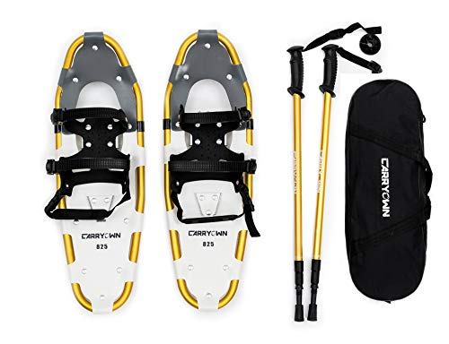 Carryown Snowshoes 14 /21/ 25/ 27/ 30 for Adults Men Women Youth Kids with Pair Antishock Snowshoeing Poles, Adjustable Ratchet Binding, Free Carrying Tote Bag (30 Inch)