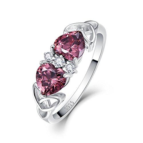 (Merthus 925 Sterling Silver Heart Shaped Synthetic Spessartine Garnet Love Knot Celtic Rings for Women)
