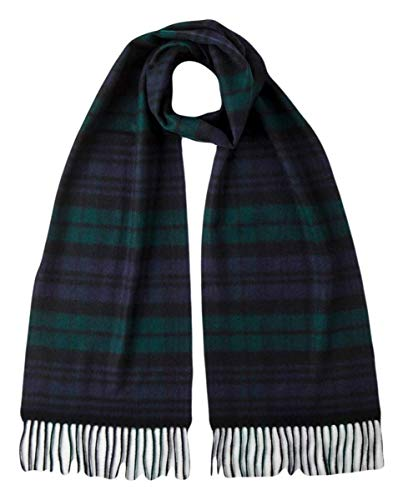 (Johnstons of Elgin Unisex Black Watch Woven Cashmere Tartan Scarf - Black/Navy/Green)